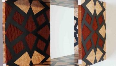 Bureau Art-Déco - détail de la marqueterie du cache radiateur